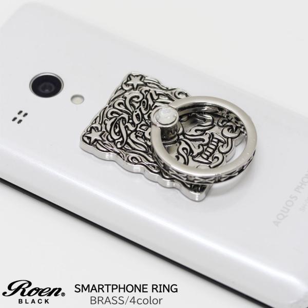 スマホリング スマートフォンリング メンズ アクセサリー Roen ロエン ブラック スタンド バンカー ホールド リング タブレット アイフォン ギャラクシー|bj-direct