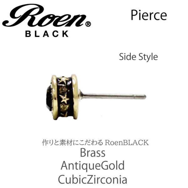 Roen Black ロエン アクセサリー メンズ ピアス 星 スター ゴールド ブラック キュービック ジルコニア ペア|bj-direct|04
