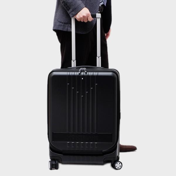 モンブラン MONTBLANC フロントポケット付 キャビン トローリー 4輪 キャリー スーツケース ブラック 37L(3〜4泊向け) [メンズ] 118728|bjkyoto|02