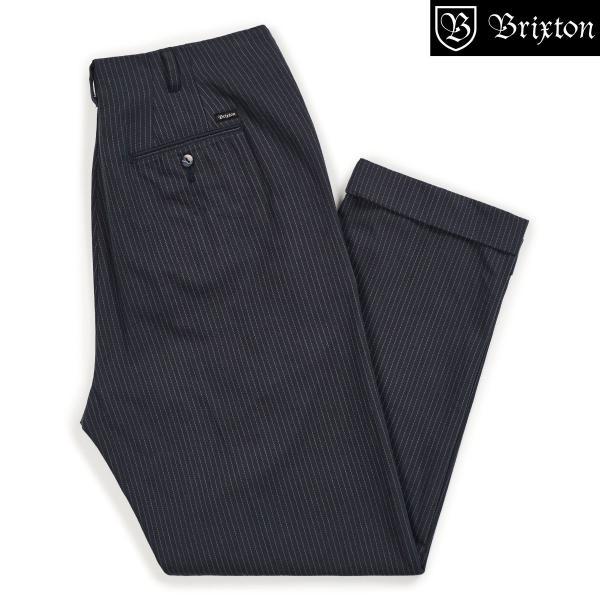 ブリクストン レジェント トラウザーパンツ Brixton REGENT TROUSER PANT #04081 ネイビーストライプ スラックス リラックスフィット [正規品]|bk2bk