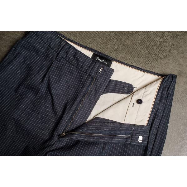 ブリクストン レジェント トラウザーパンツ Brixton REGENT TROUSER PANT #04081 ネイビーストライプ スラックス リラックスフィット [正規品]|bk2bk|04