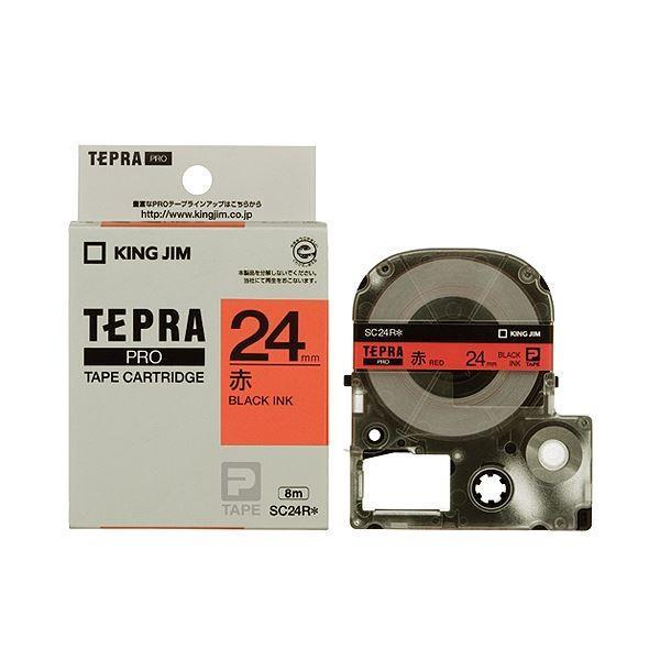 (まとめ) キングジム テプラ PRO テープカートリッジ パステル 24mm 赤/黒文字 SC24R 1個 〔×4セット〕