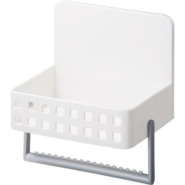 (まとめ) 洗剤ラック/キッチン収納 〔マグネット式〕 タオルハンガー・吸盤付き ホワイト 『Mag-On』 〔24個セット〕