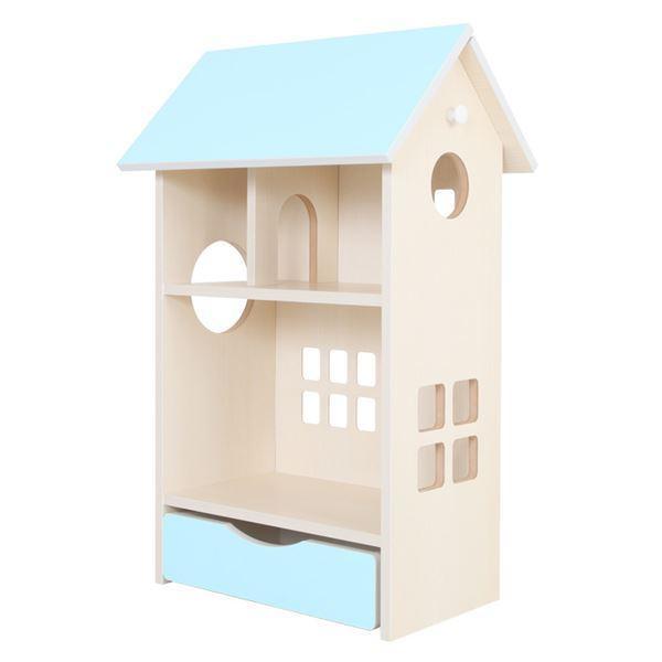 ドールハウス型 収納棚 〔スカイブルー〕 幅54cm 日本製 キャスター付き フック付き 『ドールハウスシェルフ』 〔完成品〕〔代引不可〕