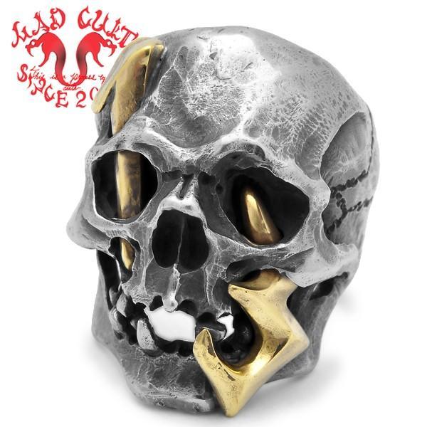 MAD CULT / マッドカルト 13 Skull Head 2 / 13スカルヘッド 2 スカルリング MC13-2 ブラス|blackbarts
