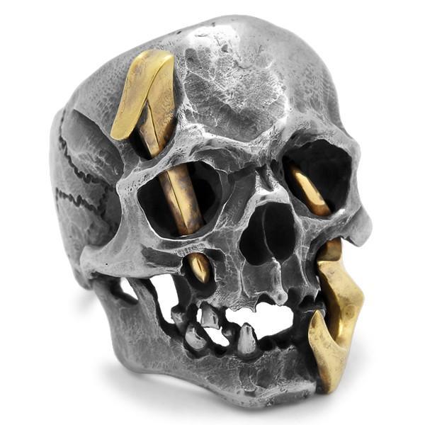 MAD CULT / マッドカルト 13 Skull Head 2 / 13スカルヘッド 2 スカルリング MC13-2 ブラス|blackbarts|02