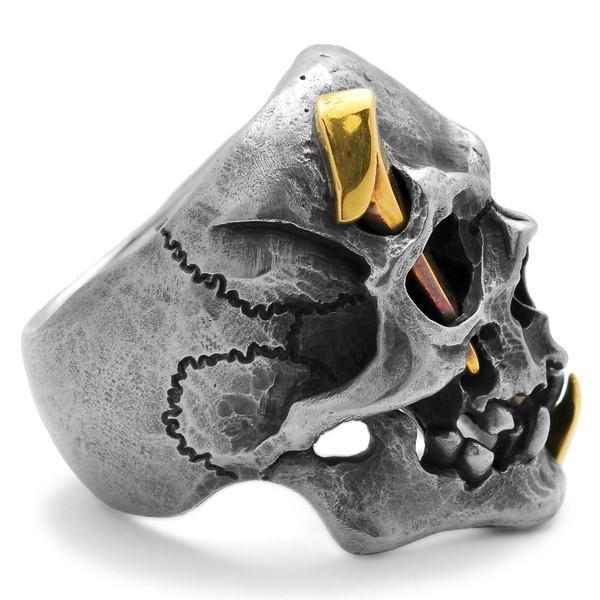 MAD CULT / マッドカルト 13 Skull Head 2 / 13スカルヘッド 2 スカルリング MC13-2 ブラス|blackbarts|04