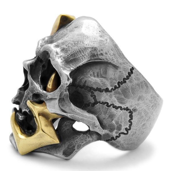 MAD CULT / マッドカルト 13 Skull Head 2 / 13スカルヘッド 2 スカルリング MC13-2 ブラス|blackbarts|05