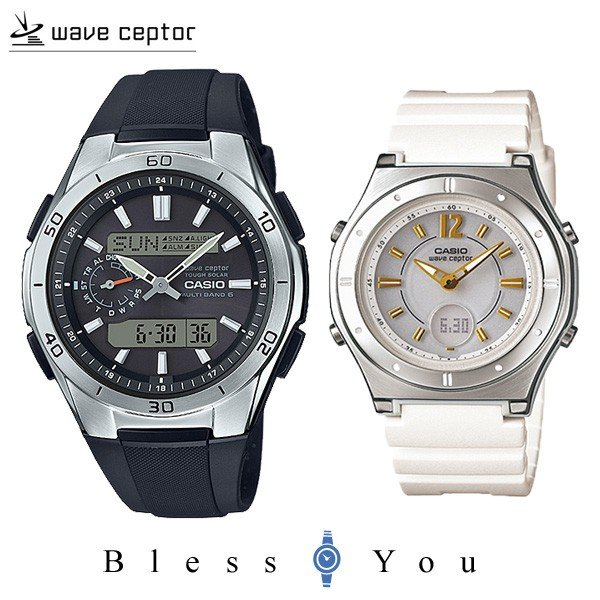 ペアウォッチ カップル 電波ソーラー腕時計 樹脂バンド WVA-M650-1AJF-LWA-M142-7AJF 35000|blessyou