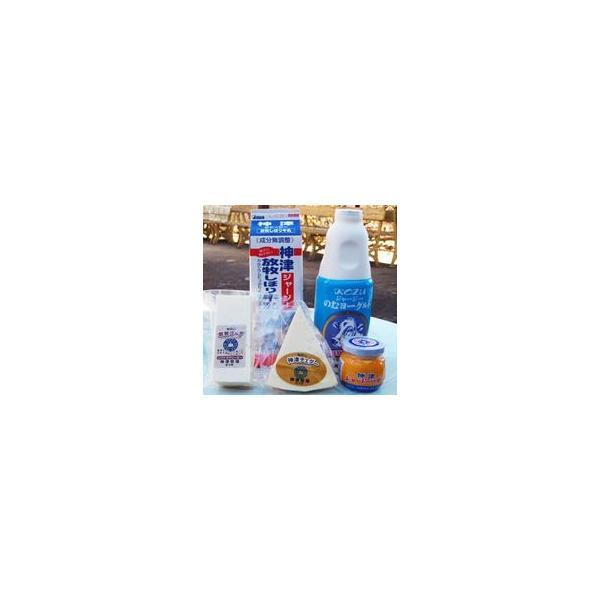 神津牧場 アラカルト ミニセット(5個)<br>【ジャージ牛乳、飲むヨーグルト、発酵瓶バター、チェダ—、ゴーダチーズ】 関東送料765円