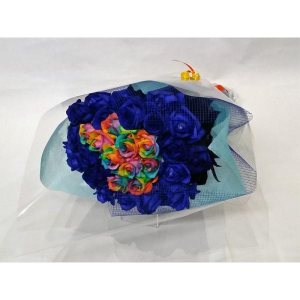 7色のバラ花束 【レインボーローズ】10本&ブルーローズ20本花束