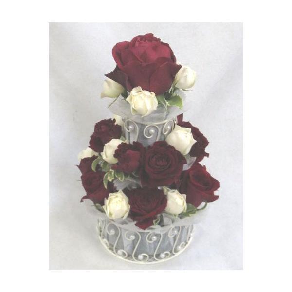 生花 バラでできた3段フラワーケーキ ホワイト&レッド