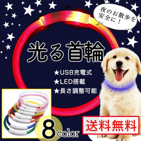 首輪光る犬LEDライトUSB充電犬用夜散歩安全小型犬中型犬大型犬