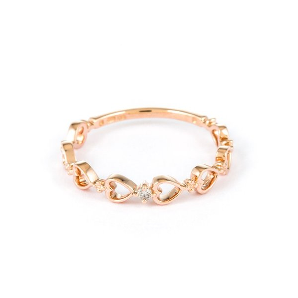 リング レディース ダイヤモンド シンプル かわいい K10 ピンクゴールド k10 ハート ESTELLE エステール