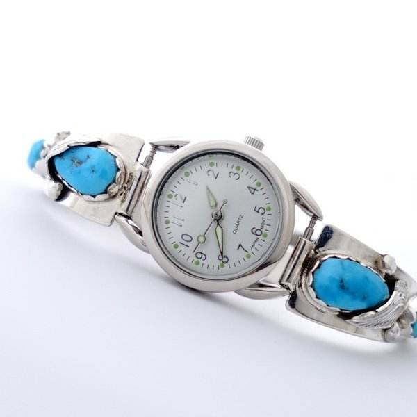 インディアンジュエリー ウォッチ 腕時計 ターコイズ オニキス シェル ナバホ族 SV925 幸運 お守り 天然石 ハンドメイド メンズ レディース ギフト USA直輸入