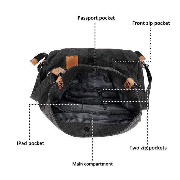 ユニセックスキャンバスショルダーバッグカジュアルトラベルデイパックバックパック大容量ハンドバッグメッセンジャーホーボートートバッグ(ブラック