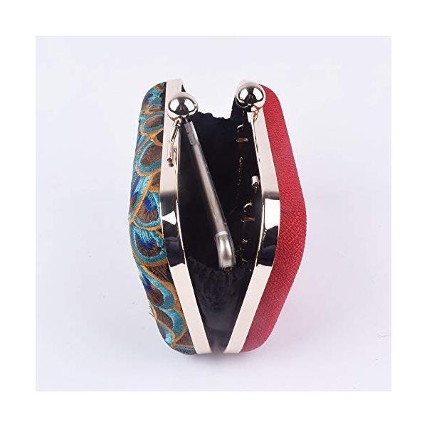 女性孔雀刺繍日クラッチレディー花財布トートチェーンパトリーハンドバッグイブニングバッグ(孔雀1)