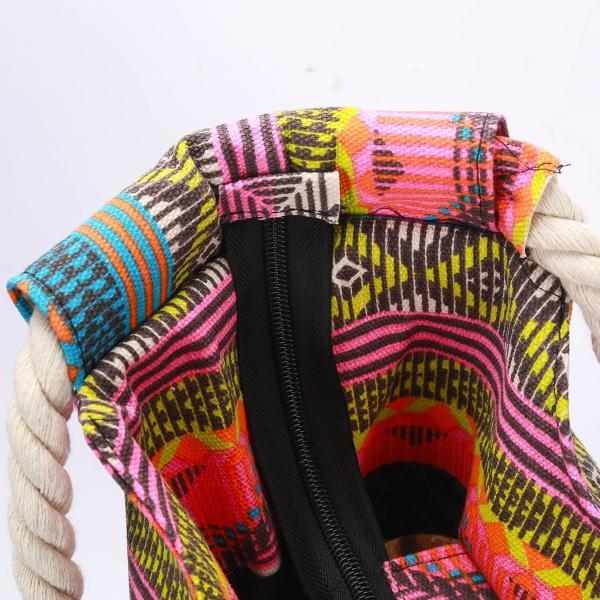 MeliMe Xラージトラベルショルダービーチトートバッグ、ハンドメイド織ストローバインディング、綿ロープハンドル、防水ライニング、内側にポ