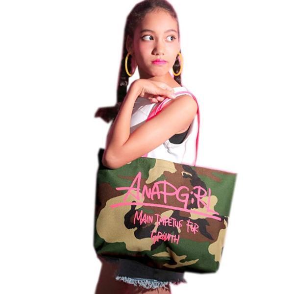 日本のレディースブランドANAP、迷彩&ロゴトートバッグ、ビッグバッグ、毎日の使用、学校、ジム、ショッピング
