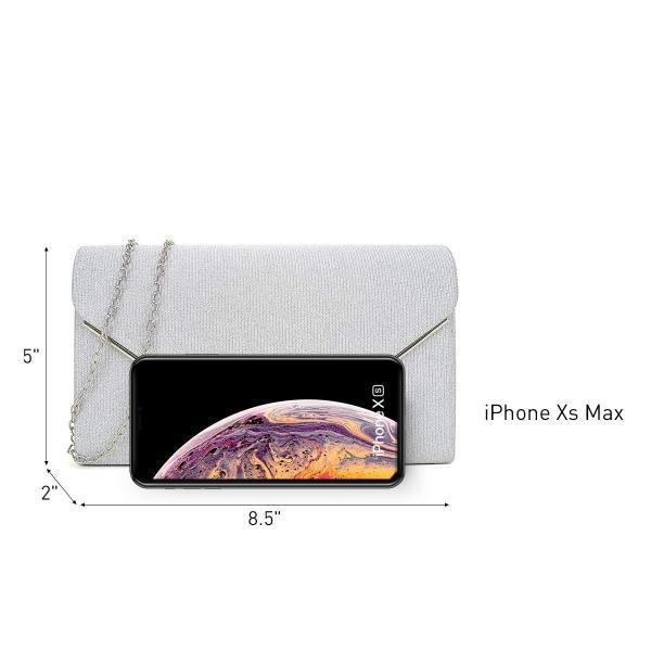 レディース封筒フラップクラッチハンドバッググリッターつや消しイブニングバッグ財布チェーンショルダーストラップ