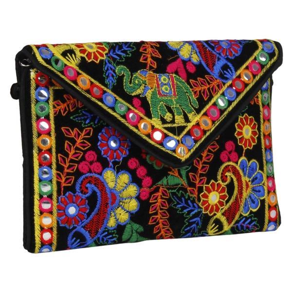 Fressia Rajasthani jaipurインドのボヘミアンアートスリングバッグフォールドオーバークラッチ財布  スリングバッグ  