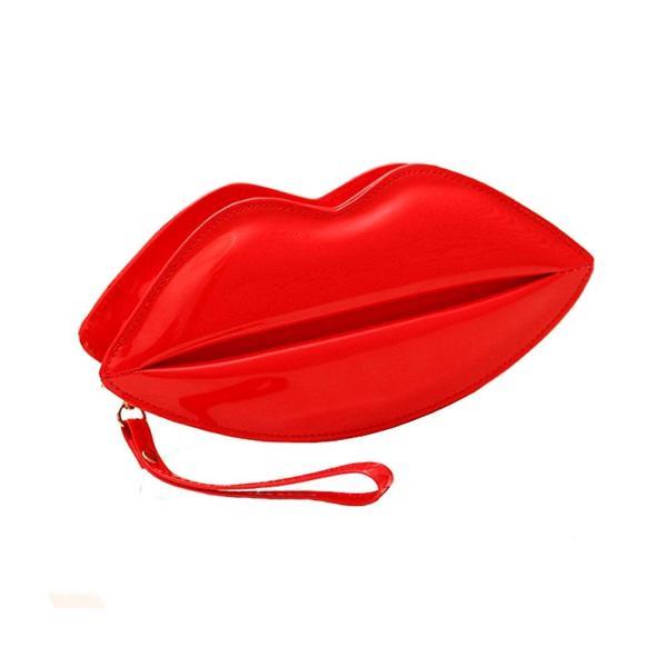 7武器唇バッグイブニングバッグクラッチ(短鎖赤)