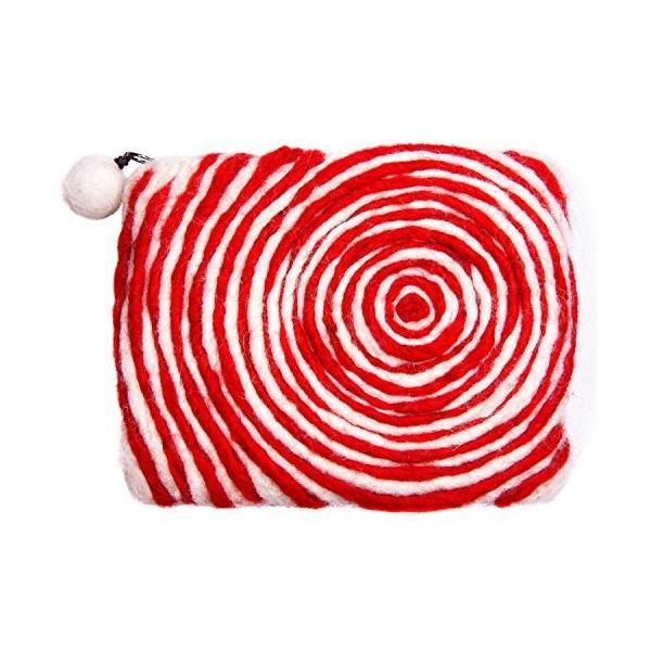 ブルームライフネパール手作りウールフェルトジッパー付き財布クラッチ財布(レッドスワール)