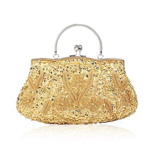 モアビーズスパンコールデザインフラワーイブニング財布大クラッチバッグ(ゴールド)