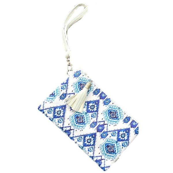 """青と白のプリントクラッチバッグ、約5 """"L"""" x 8 """"H。"""