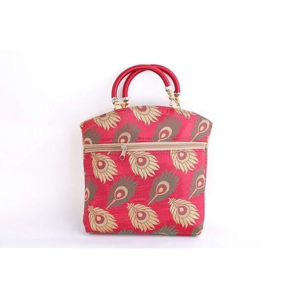 """女性からトップハンドル付き9 """"×9""""シルクヘビーデザイナーレッドハンドバッグ。"""