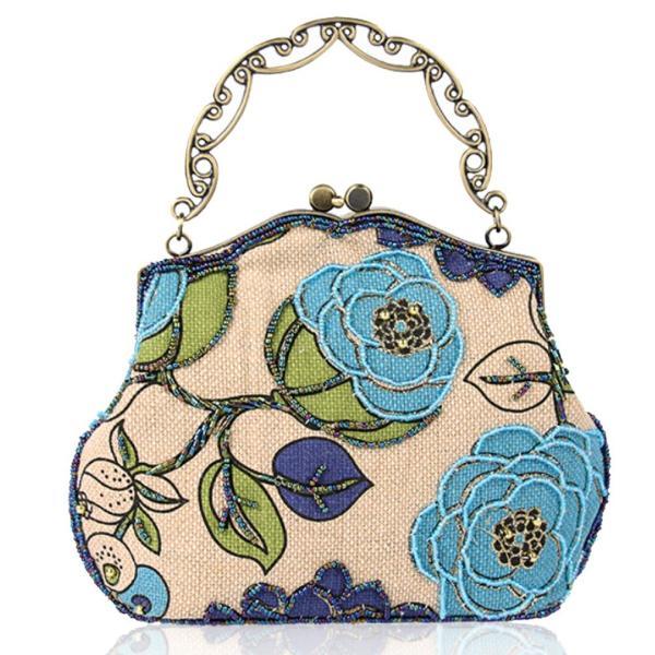 E - TDPACの女性のヴィンテージクラッチハンドバッグビーズの花のイブニングバッグ(ブルー)