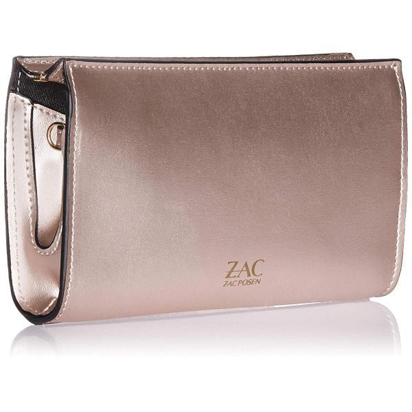 ZAC Zac Posen Earthaアイコニック電話ウォレットクロスボディメタリック金メッキローズ