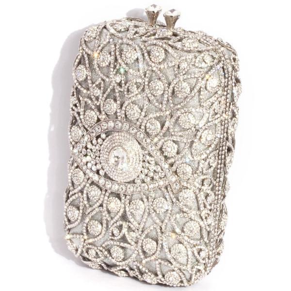 Digabi目ラインストーンの財布長方形の形状のレトロな女性のクリスタルイブニングクラッチバッグ(ワンサイズ:4.72インチ(L)×7.87