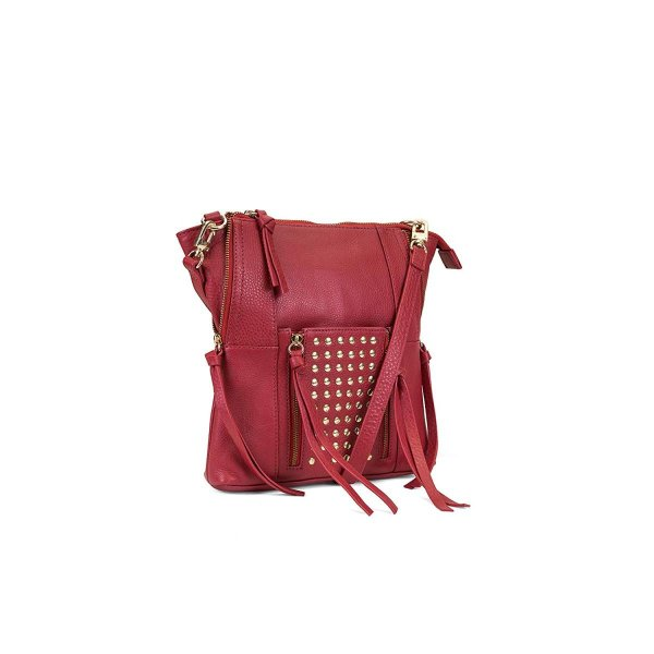 Kooba Handbags Eve Studded Leather Crossbody, Scarlet, One Size