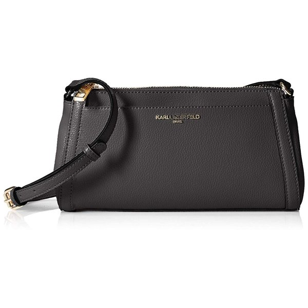Karl Lagerfeld Paris Womens Willow Slim Crossbody, Black/Gold