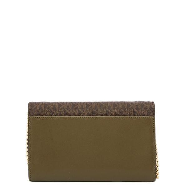 Michael Kors Sloan Large Envelope Wallet On A Chain Bicolor King Leath