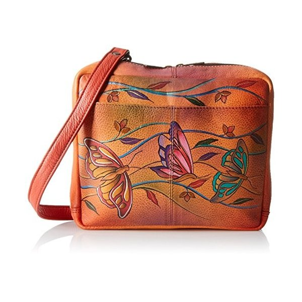 Anuschka Handpainted Leather Crossbody Travel Organzer, Angel Wings Ta