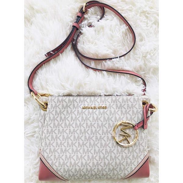 Michael Kors Nicole Triple Compartment Crossbody Bag Vanilla Signature