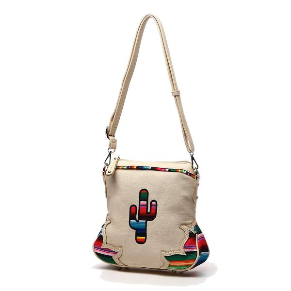 Western Handbag - Multi-Colored Serape Fabric Textured Stitched Cactus