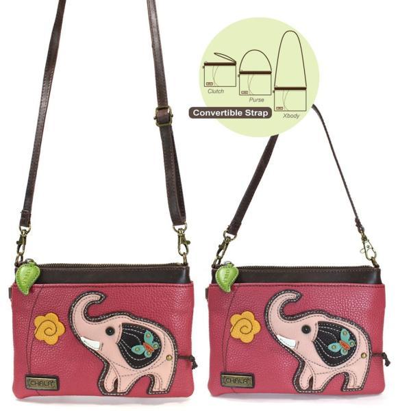 Chala Elephant Mini Crossbody/Purse, Dark Pink