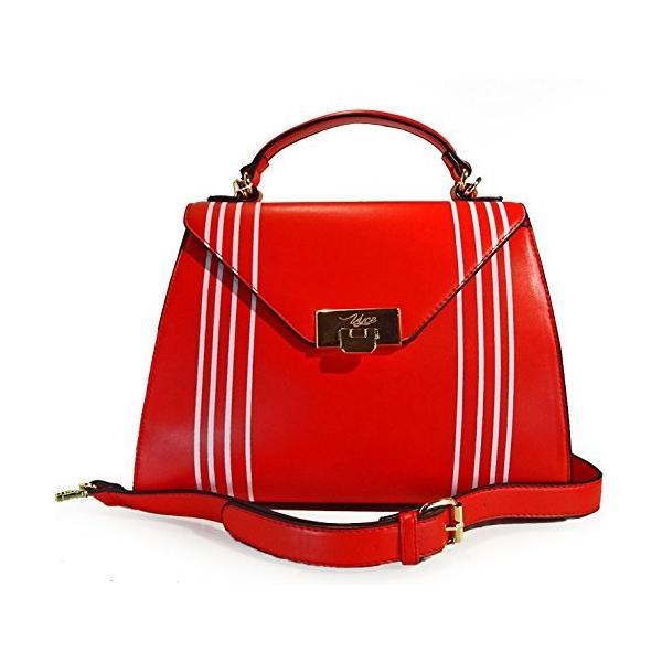 VYCE, Elegant Stripe Top Handle Satchel Crossbody- Red