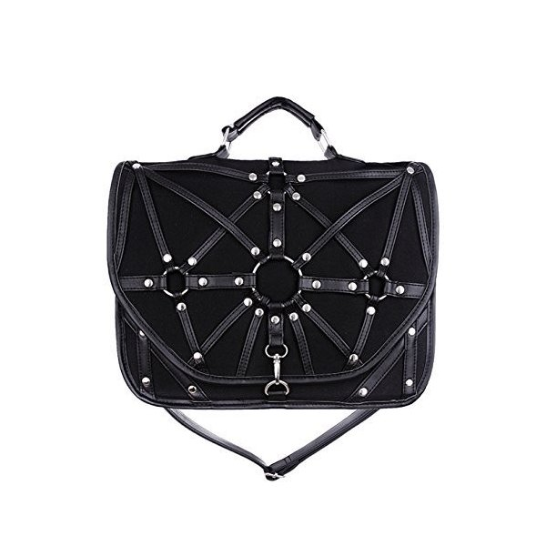 Restyle Dark Side Gothic O-rings & Black Harness Witchcraft Satchel Ba