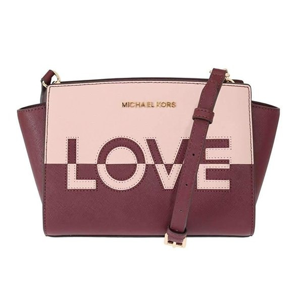 Michael Kors Selma Medium Love Saffiano Leather Satchel (Ballet/Merlot