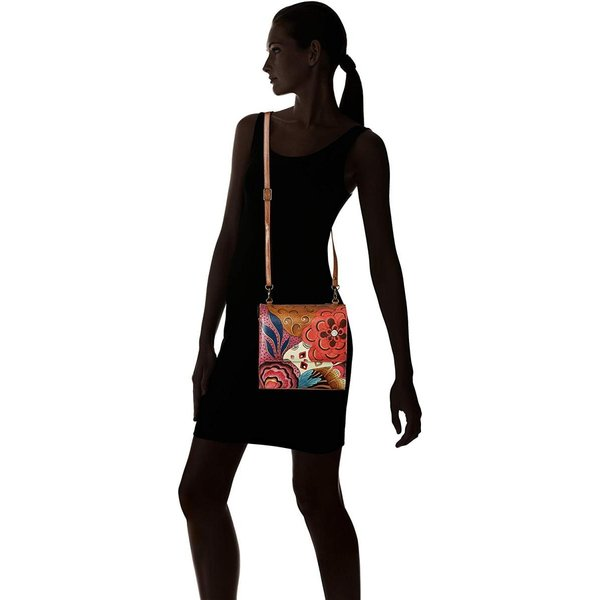 Anna by Anuschka Women's Genuine Leather Small Flap-Over Slim Cross Bo