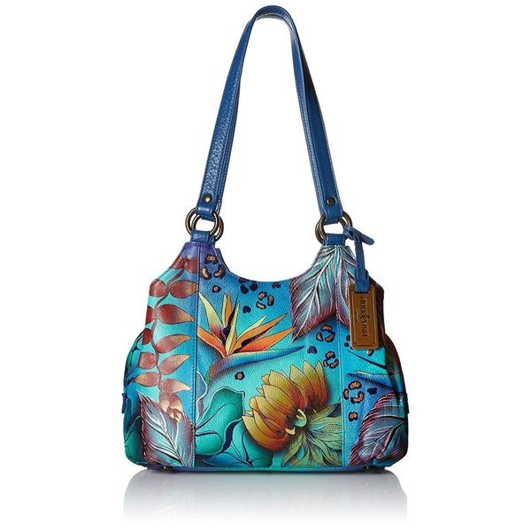 Anuschka Women's Hand Painted Genuine Leather Triple Compartment Satch