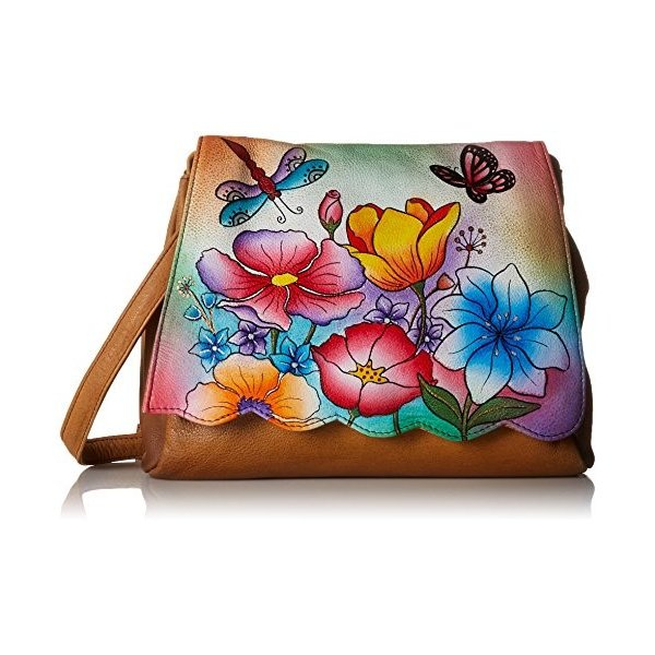 Anuschka Anna by Handpainted Leather Scallop Flap Bag, Floral Garden