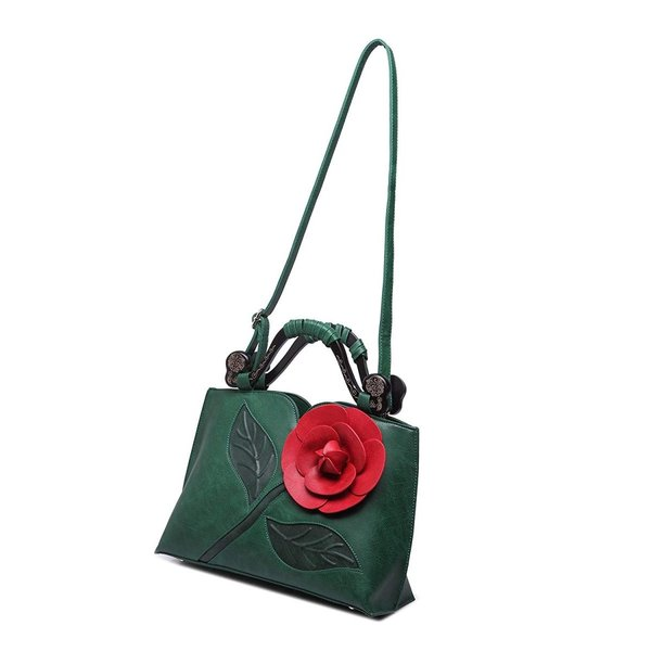 Satchel Handbags for Women PU Leather Tote 3D Rose Flower with Wooden