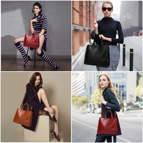 Pinprin Women Handbags Designer Tote Purse Soft Leather Top Handle Sat