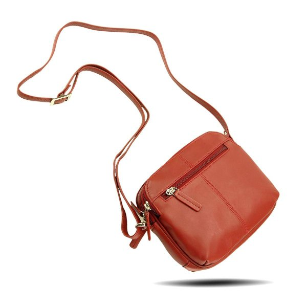 Visconti 18939 Womens Small Leather Shoulder / Crossbody Bag (Red)