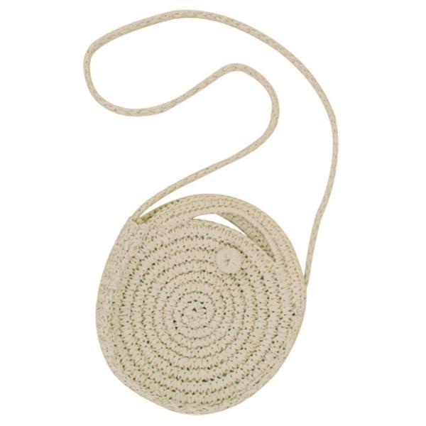 Beurlike Womens Straw Crossbody Bag Round Handbag Shoulder Bag for Bea